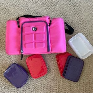 Pink Six 6 Pack Fitness Lunch Bag Kit